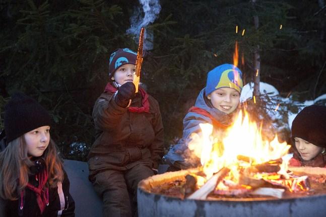 """Vi behöver fler vuxna, vars signal till ungdomar och olika ungdomsverksamheter hellre är """"jo, det lyckas"""" än """"nej, det är för besvärligt"""", skriver tre företrädare för Finlands Svenska Scouter. - På bilden, tagen 2014, fyra Sundomscouter: Julia Karlsson, Jesper Westerlund, Kaspian Levälahti och Robin Hjerpe."""