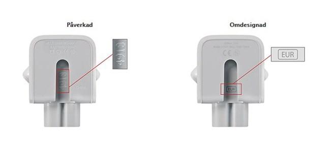 Den omdesignade adaptern har beteckningen EUR.