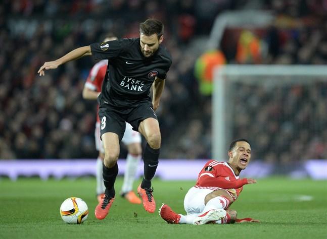 Tim Sparvs FC Midtjylland har fått prova på spel ute i Europa, här mot Memphis Depays Manchester United för fyra år sedan.