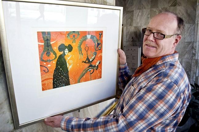 Juha Tammenpää skapar egna fantasifulla världar i sin konst.