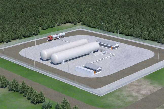 Så här kan en LNG-terminal se ut. Skiss över terminalen i Brahestad.