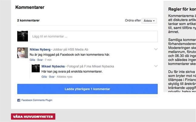 Din egen bild dyker upp om du är inloggad på Facebook och markerar kommentarsfältet under Vbl-artikeln.