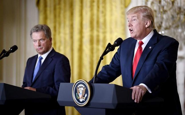 Sauli Niinistö och Donald Trump höll en gemensam presskonferens.