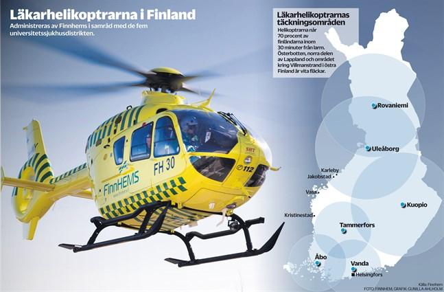 I dag finns det sex läkarhelikoptrar i Finland, men de är ojämnt fördelade.