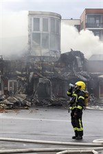 I köpcentret som brann upp fanns bland annat en K-market.