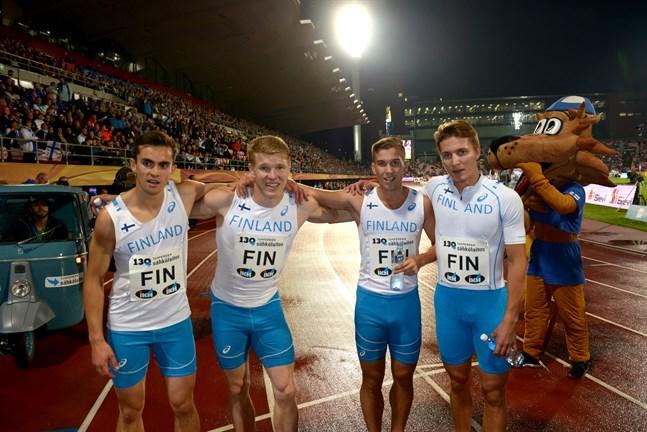 Finlands herrlag på 4x400 meter i landskampen: Eljas Aalto, Christoffer Envall, Filiph Johansson och Markus Teijula.