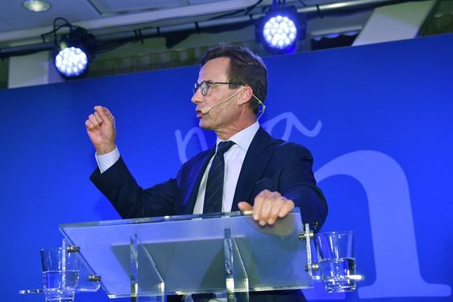 Partiledare Ulf Kristersson på Moderaternas valvaka på Scandic Continental på Vasagatan i Stockholm.