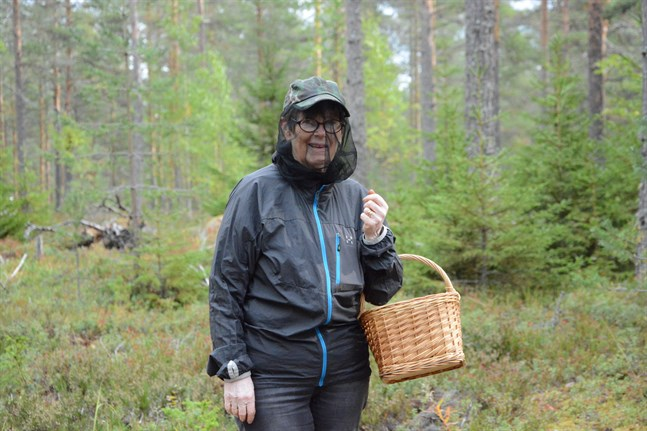 Birgitta Eklund är nu rustad för svampexkursion. Kepsen med skyddsnätet får hon låna av maken Sven Eklund.