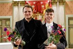 Johannes Zahn från Tyskland, till vänster, och Angus Webster, från Storbritannien, delade på andra priset i dirigenttävlingen.