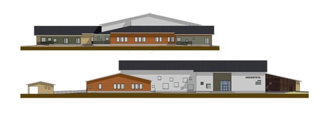 Preliminära skissritningar för Nedervetil skola, förskola och bibliotek har gjorts av Arkitektbyrå Jorma Paloranta.