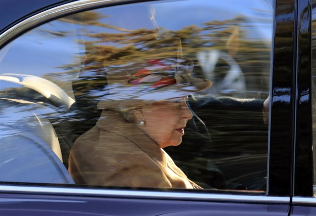 Drottning Elizabeth vid en gudstjänst i helgen.