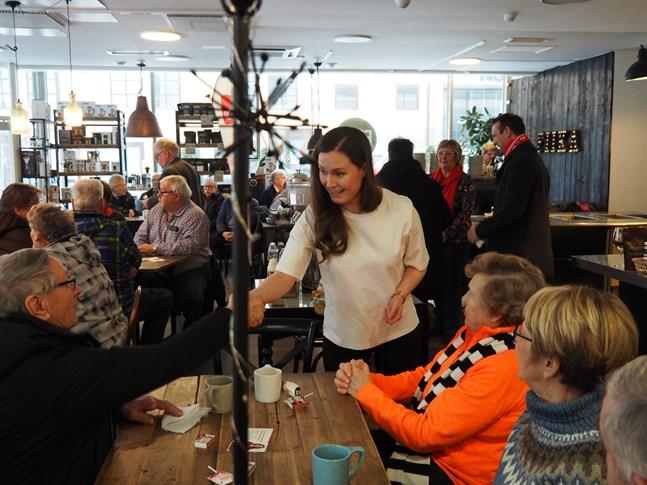 Inför riksdagsvalet förra våren besökte Sanna Marin, SDP:s vice ordförande, även Jakobstad för att träffa väljare.