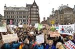 Den 14 mars demonstrerade ungdomar i Amsterdam för klimatet.