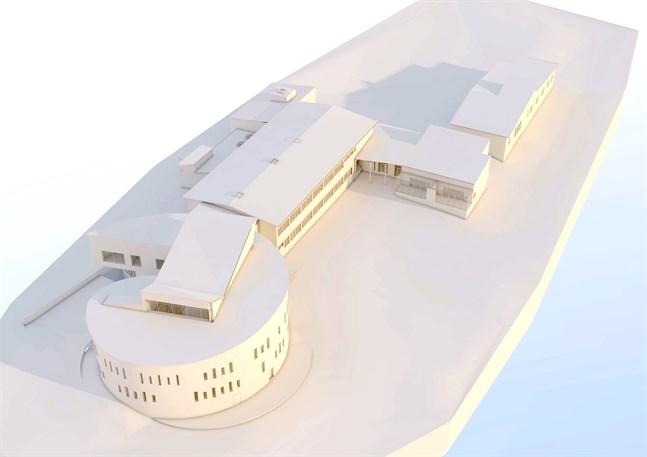 """Så här ska den utbyggda Mosebacke skola och förskola se ut, sedd från sydost. Bygget blir dyrare än beräknat. Närmast i bild finns skolans tillbyggnad kallad """"snäckan""""."""
