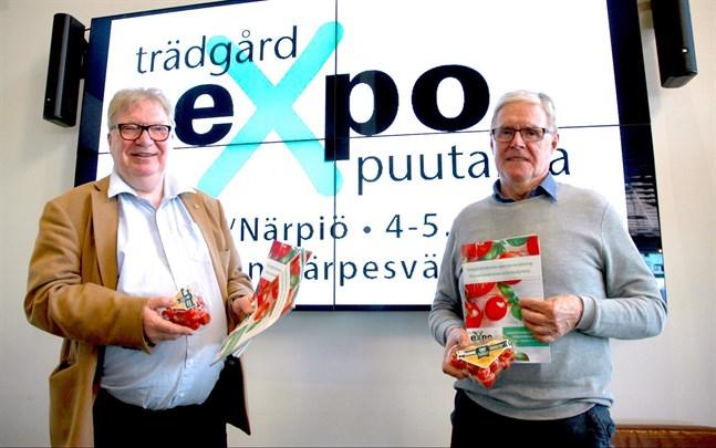 Raymond Wesander och Kaj Granö är utställningschefer för branschmässan Trädgårdsexpo som hålls i Närpes nästa vecka.