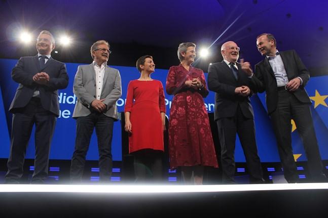 Här är de sex toppkandidater som deltog i debatten i Bryssel härom veckan. Från vänster EU-kritiska Pragbon Jan Zahradil, belgiske vänstermannen Nico Cué, gröna tyskan Ska Keller, liberala danskan Margarethe Vestager, holländska socialdemokraten Frans Timmermans och kristdemokratiska bayraren Manfred Weber.