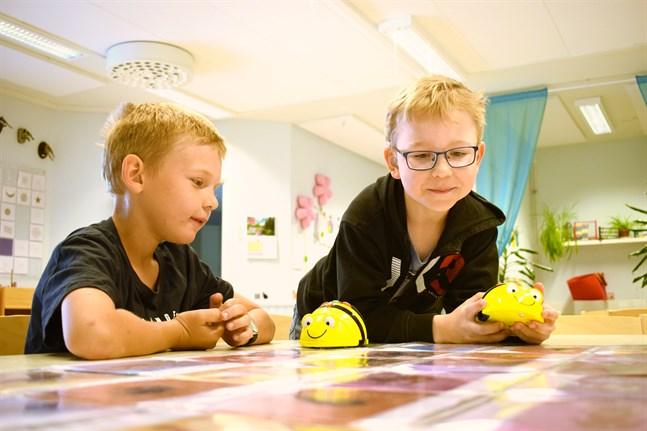 Leon och Oliver har nyss gått ut förskolan och väl bekanta med att programmera Beebots. Genom att på förhand mata in biets rutt hoppas de nå fram till rätt bild på bordet.