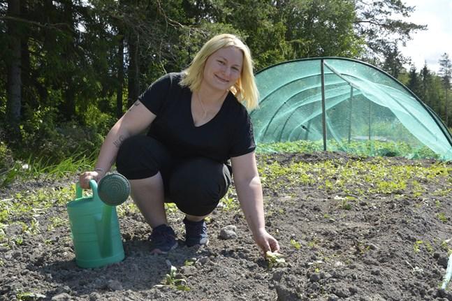 Sofie Guldén har fått bra fart på sina pumpaplantor. Nu hoppas hon på vinst i pumpautmaningen.