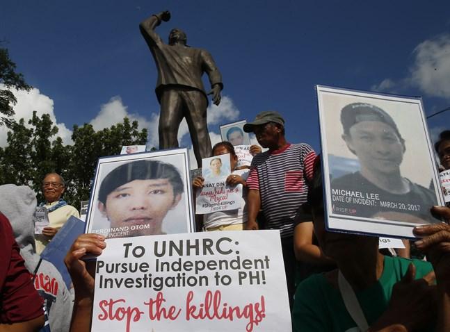 En demonstration i Filippinernas huvudstad Manilla, den 9 juli, till stöd för en FN-utredning av landets blodiga krig mot drogerna.