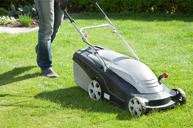 Den batteridrivna gräsklipparen är tyst och lättstartad.