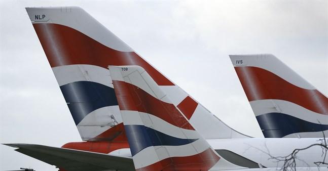 Flygplan ur British Airways flotta. Arkivbild