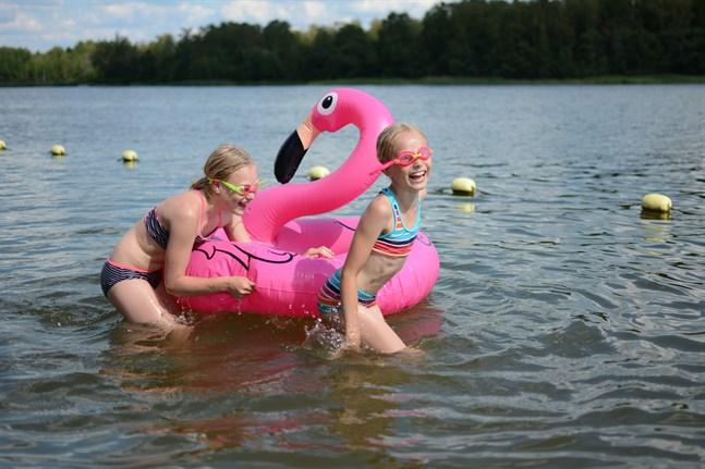 Så snart flamingon Gunnar fått tillräckligt med luft gjorde den Siri Lundéns och Saga Lundéns simtur så mycket roligare.