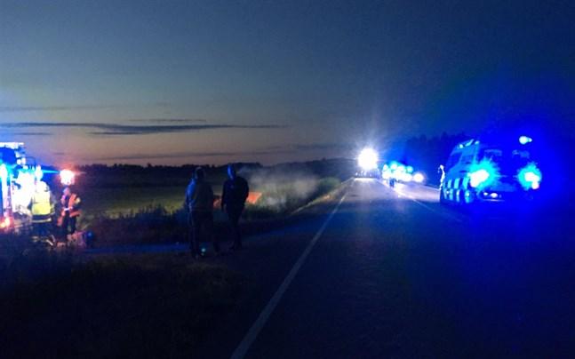 Tre bilar krockade strax utanför Nykarleby i augusti 2019.