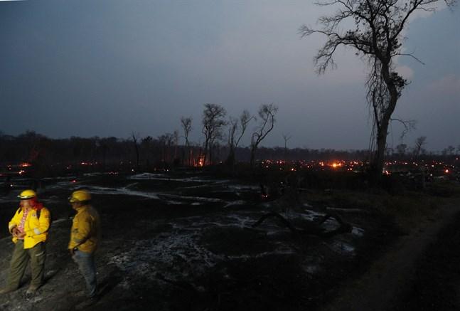 Brandmän vilar efter att ha släckt bränder i närheten av Robore i regionen Chiquitania i östra Bolivia under söndagen.