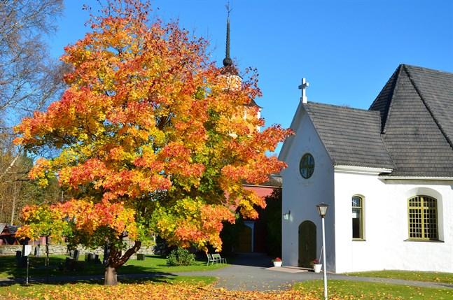Den här bilden av Närpes kyrka i höstskrud är oktober månads bild i Sydins almanacka 2018,