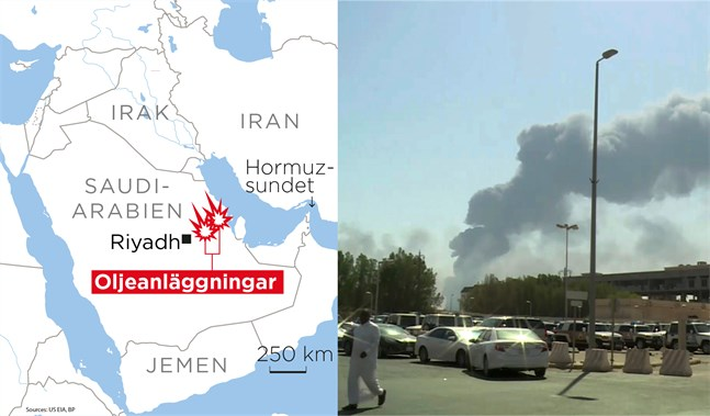 Två oljeanläggningar i Saudiarabien attackerades i lördags.