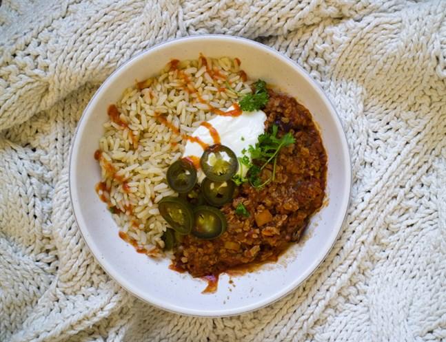 En chili sin carne gjord på sojakross mättar garanterat.