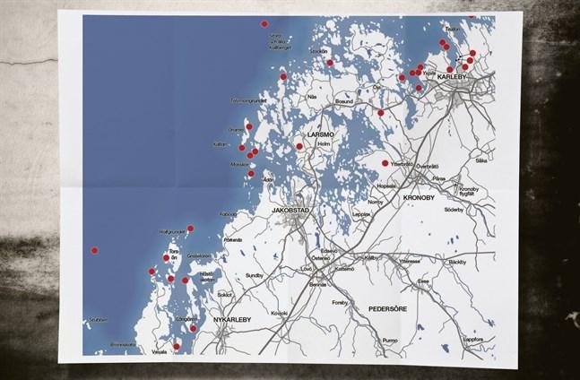 Varje röd prick markerar platsen för ett vrak.