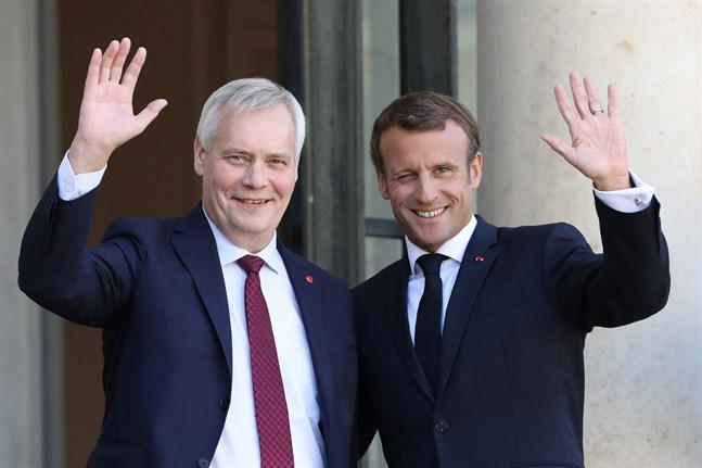 Antti Rinne träffade Emmanuel Macron på onsdagen.