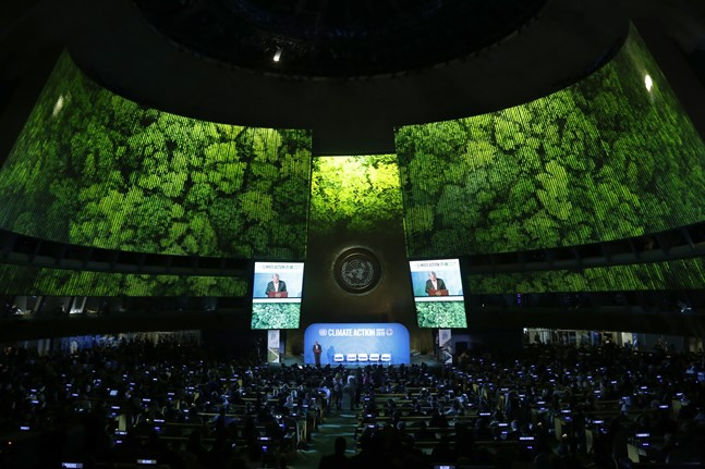 FN:s generalsekreterare António Guterres talar vid klimatmötet Climate Summit i New York.