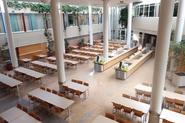Också matsalen vid Optima berörs av de ombyggnadsarbeten som startar efter sportlovet.