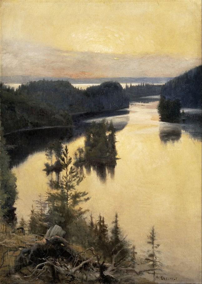 Den okända målningen är en version av Alberts Edelfelts kända målning Kaukola ås i solnedgång som finns i Ateneum.