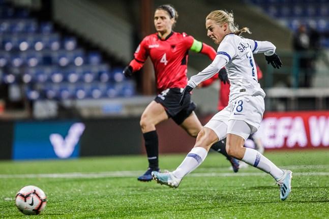 Linda Sällström gjorde totalt sex av Finlands elva mål i de två matcherna mot Albanien i september och oktober.