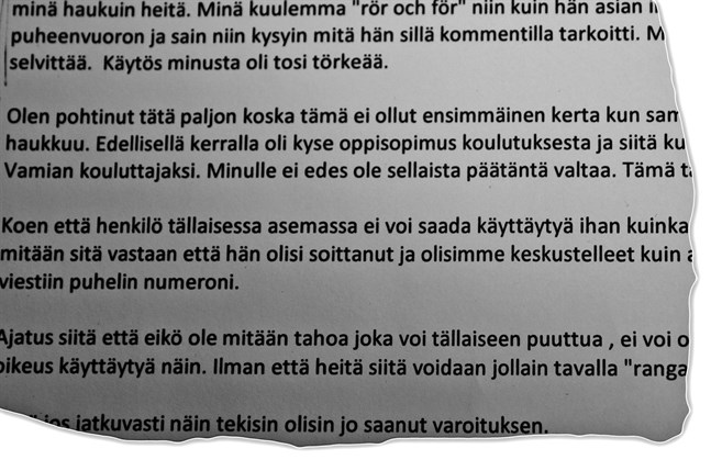 Anmälan om osakligt beteende mot toppolitikern behandlas av stadsstyrelsen i Kristinestad 4 november.
