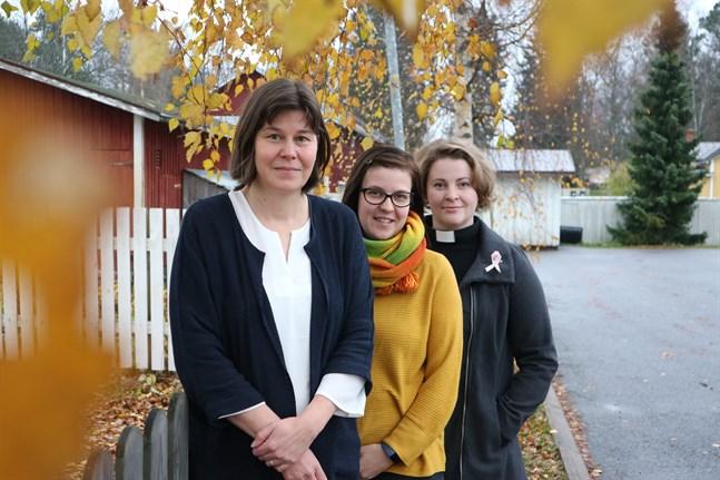 Monica Borgmästars, Victoria Lassander-Sandin och Mia Anderssén-Löf vill bemöta den sorg som inte alltid ges utrymme.