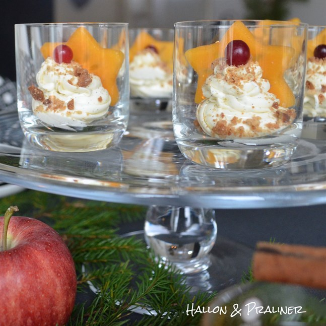 En julig efterrätt att servera på julmyset, glöggminglet eller varför inte som efterrätt på julafton. Dekorera med smulade pepparkakor och persimon.