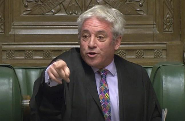 John Bercow, som varit talman i det brittiska underhuset sedan 2009 och som avgår från sin post under torsdagen, under en debatt den 21 oktober.