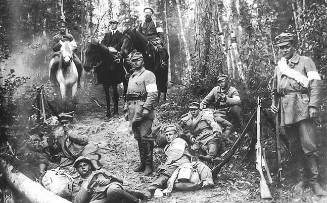 Åren 1918 – 1921 gjordes frivilligexpeditioner från Finland där man angrep Vitahavskarelen (Viena) och Aunus. Expeditionerna blev också en del av de allierades intervention i ryska inbördeskriget. Bilden är från  angreppet mot Vitahavskarelen sommaren 1918, till häst författaren Ilmari Kianto. Bild ur boken.
