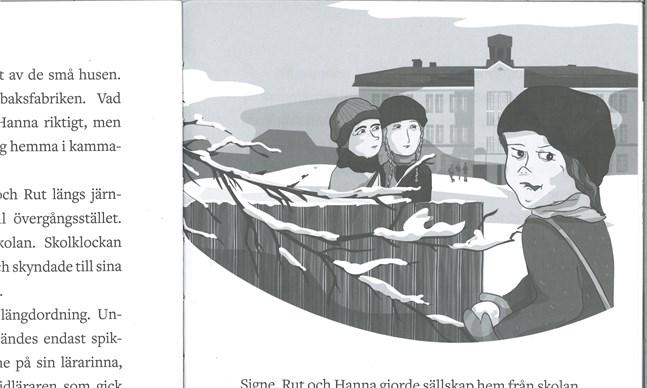 """I förgrunden syns Signe, som är ganska fräck. På andra sidan staketet står Hanna och Rut. Bilden som Terese Bast gjort finns med i Monica Borg-Sunabackas bok """"Hanna 1918""""."""