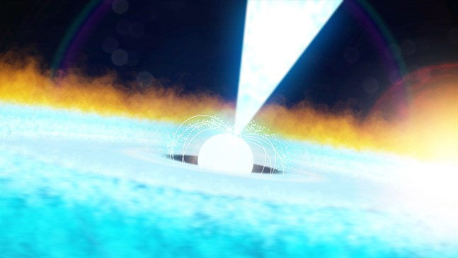 Nasas illustration av hur energistöten, ett fenomen som på engelska kallas type 1 x-ray burst, ser ut.