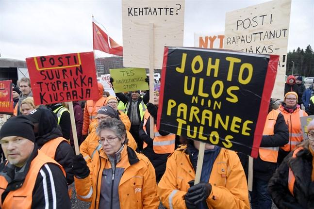 Post- och logistikunionens medlemmar planerar en demonstration vid riksdagens trappor på torsdag.