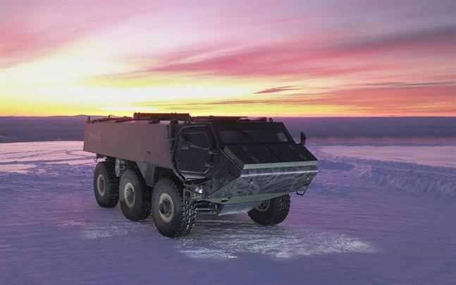 Det nya bepansrade fordonet Patria 6x6 testas i bland annat Lappland.