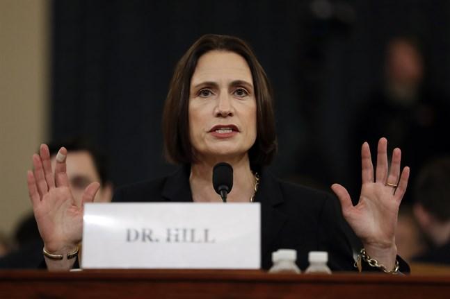 Fiona Hill vittnar i den amerikanska kongressen.