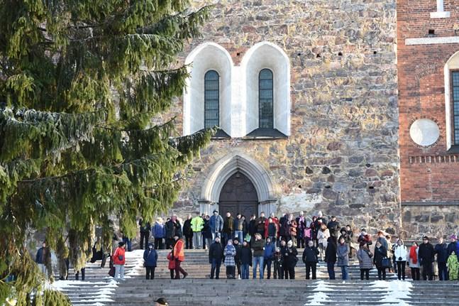 Julgranens ankomst lockade många åskådare till Åbo domkyrkas trappor i fjol.