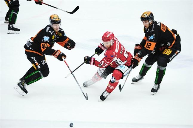 Martin Berger (till vänster) jagade Niklas Nevalainen när Sport och KooKoo möttes på Kopparön i slutet av november.