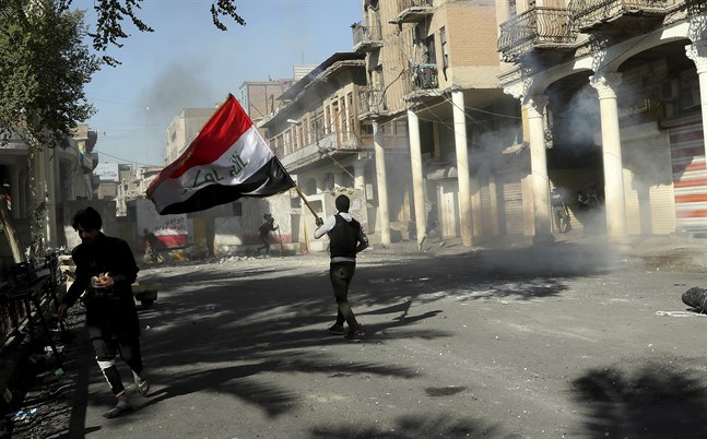 Protesterna har pågått i nästan två månader. Bilden är från Bagdad, den 22 november.